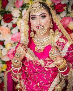 Indian Bridal Hairstyles, Indian Bridal Outfits, Indian Bridal Makeup, Indian Bridal Fashion, Punjabi Fashion, Bridal Beauty, Desi Wedding Dresses, Wedding Attire, Bridal Dresses