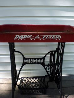 The Painted Home: wagon base & a sewing machine stand makes a great patio table/bar or ice tub for cold drinks