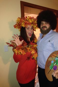 Halloween Couple Ideas Bob Ross and a  Happy Little Tree.  sc 1 st  Pinterest & Bob Ross u0026 Happy Little Tree Halloween Costume DIY Costume Couples ...