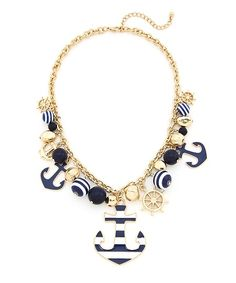 Sailor Away Statement Necklace - Navy and White $13.50