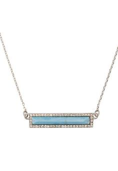 blue stone bar necklace with rhinestones (original price, $14) available at #Maurices