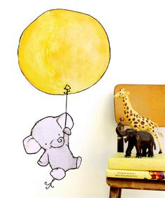 Another great find on #zulily! Yellow Balloon Elephant Wall Decal #zulilyfinds