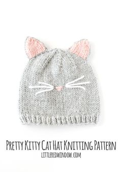 Baby Cat Hat KNITTING PATTERN // Cat Ear Hat Pattern // Baby Knit Hat Pattern with Cat Ears The pretty kitty cat hat knitting pattern is modeled after our former beloved pet who had the cutest little Baby Hat Knitting Pattern, Free Knitting, Beanie Pattern, Baby Patterns, Knit Patterns, Sweater Patterns, Stitch Patterns, Knitted Cat, Knitted Baby Hats