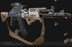 by RubixLight on DeviantArt Ak 47 Tactical, Tactical Life, Ak 74, Weapons Guns, Guns And Ammo, Tactical Accessories, Ar Accessories, Steampunk Weapons, Weapon Storage