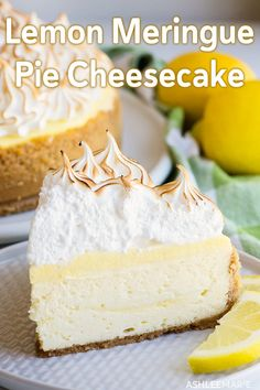 recipe and video for the perfect lemon meringue cheesecake - a lemon cookie crust, a creamy cheesecake with ribbons of fresh lemon curd, covered with more tart lemon curd and topped with a fluffy toasted meringue! Lemon Desserts, Lemon Recipes, Fun Desserts, Real Food Recipes, Delicious Desserts, Dessert Recipes, Dessert Drinks, Healthy Recipes, Cake Mug