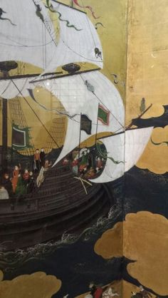 Namban art, by Kano Domi Japan, Momoyama period. One of several pieces describing the arrival of the Portuguese to Japan. Japanese Furniture, Edo Period, First Contact, Japan Art, Archaeology, Modern Art, Concept Art, Art Drawings, Medieval