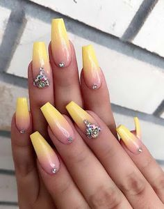 Ombre nails are everywhere these days. Ombre nails are eye-catching and personalized, and can be subtle as you want. I like a soft pastel ombre fade that is suitable for everyday use or glitter ombre nails for special occasions such as weddings. Yellow Nails Design, Yellow Nail Art, Pink Nail, Pastel Yellow, Purple, Ombre Nail Designs, Nail Art Designs, Cute Nails, Cute Acrylic Nails