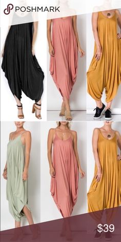 JESSIE boho chic jumper - 2 colors Spaghetti String Jumpsuit - mustard& sage. Runs big. 95% Rayon 5% Spandex   NO TRADE PRICE FIRM Bellanblue Pants Jumpsuits & Rompers