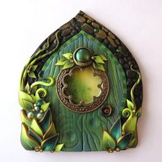 Absinthe Green Fairy Door Miniature Door Fairy Garden by Claybykim