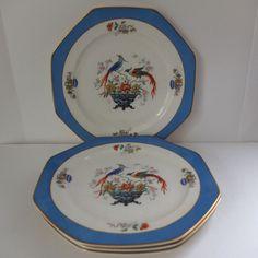 *RARE* 1926 Edwin M Knowles Chelsea Bird Luncheon Plates Octagon Art Deco Blue #Knowles