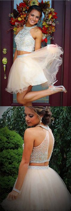 Homecoming Dresses,Short Prom Dresses,Graduation Dresses,Prom Dresses for Girls, Cheap Prom Dresses on line,Elegant Homecoming Dresses With Beading,Two Piece Tulle Prom Dresses,SVD560