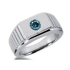 0.50 Karat blauer Diamant Herrenring aus 585er Weißgold. Ein Diamantring aus der Kollektion Blue von www.pearlgem.de