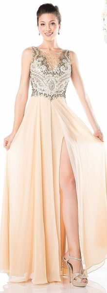 Champagne Sleeveless Beaded Bodice A-Line Chiffon Full Length Formal Dress #discountdressshop #sleeveless #chiffon #formaldress