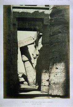 Felice Antonio Beato, Columns in the Hypostile Hall-Karnak, Upper Egypt (c. 1865-1869).