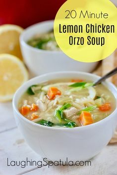 At only 165 Calories for a huge serving you will love this Lemon Orzo Chicken Soup! Made with left over chicken or store bought rotisserie chicken, it will become your favorite go to quick meal! Cookbook Recipes, Soup Recipes, Chicken Recipes, Cooking Recipes, Chili Recipes, Recipies, Noodle Recipes, Healthy Soup, Healthy Recipes