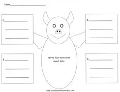 Four square writing template printable 2nd and 1st grade smarty four square writing template for a bat pronofoot35fo Choice Image