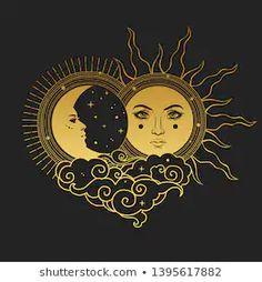 Moon and Sun, Day and Night. Vector hand drawn illustration Moon and Sun, Day and Night. Sun Moon Stars, Sun And Stars, Moon Moon, Art Soleil, Art Sketches, Art Drawings, Leo Constellation Tattoo, Illustrator, Sun Art