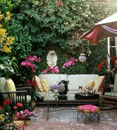 Don't be afraid to visit flea-markets to add personality to your patio! More patio ideas: http://www.bhg.com/home-improvement/patio/designs/decks-and-patio-design-ideas/?socsrc=bhgpin092613vintageseating&page=8