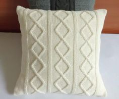 Hand knit pillow cover pearl, knitted cushion cover ivory, open cable knit sham, knitted decorative couch pillow, knit throw pillow