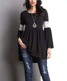 Look at this #zulilyfind! Black Lace Panel Sleeve Empire-Waist Tunic by Reborn Collection #zulilyfinds