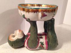 Vintage Ceramic Chinese Monkey With Bowl Trinket Dish Home Decor