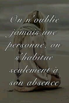 """""""We never really forget someone, we just get used to the absence of them."""" (French to English) Top Quotes, Life Quotes, Cool Words, Wise Words, Plus Belle Citation, Tu Me Manques, Quote Citation, French Quotes, Statements"""