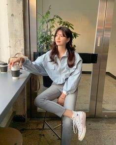 Korean Casual Outfits, Korean Outfit Street Styles, Cute Casual Outfits, Simple Outfits, Pretty Outfits, Stylish Outfits, Fashion Outfits, Korean Girl Fashion, Ulzzang Fashion