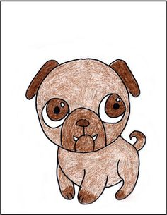 How to draw a pug. This might be fun to pain afterwards. Could be good for working with shades of a colour.