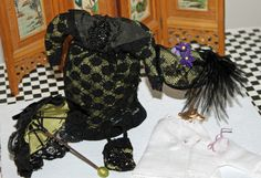 """Victorian costume with beadword and antique lace for 5 1/2"""" doll http://stores.ebay.com/happyharvesterminiatures"""