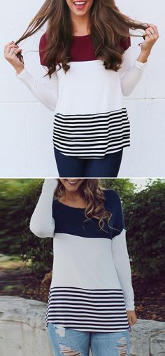 Light and feminie style is a breeze with this Color Block Lace Paneled Striped Tee.