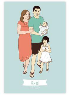 illustration portrait de famille sur mesure pour faire-part personnalisé et affiche déco