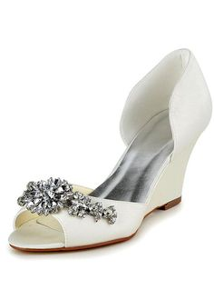 Chic Satin Upper Peep Toe Wedge Heel Bridal Shoes With Rhinestones