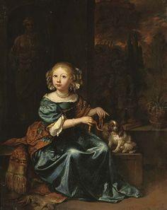Caspar Netscher - Portret van meisje in een blauwe jurk en rode sjaal met een spaniel