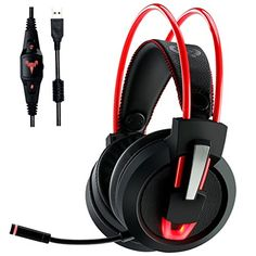 Descendants Costumes Gaming Headset 71 Virtual Surround Stereo Sound USB Computer with Microphone Noise Isolation Overear Gaming Headphones Volume Control LED Light For MAC PC Laptops * Click for Special Deals  #Gadgets#Electronics#Gifts Gaming Headphones, Best Gaming Headset, Ps4 Headset, Led Lights For Sale, Waterproof Headphones, Pc For Sale, Wireless Home Security Systems, Headphone With Mic