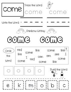Fun and engaging sight word practice pages to help your students practice reading, writing and spelling their sight words. Set Includes over 300 sight words! Full year center activity, word work or homework. Sight Words Practice Pages Sight Words List, Dolch Sight Words, Sight Word Worksheets, Sight Word Practice, Tracing Worksheets, School Worksheets, Kindergarten Worksheets, Printable Worksheets, Numbers Kindergarten