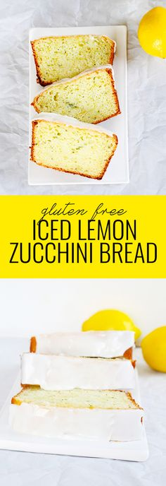 Iced Gluten Free Lemon Zucchini Bread ⋆ Great gluten free recipes for every occasion. Cookies Sans Gluten, Dessert Sans Gluten, Gluten Free Sweets, Gluten Free Baking, Gluten Free Recipes, Dessert Recipes, Healthy Lemon Recipes, Gluten Free Quick Bread, Dinner Recipes