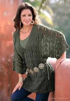 Receitas de Crochet: Blusa manda morcego verde militar
