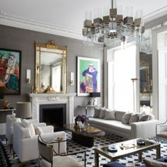 Bring elements of this colorful, luxe and dramatic living room in London into your own space.  {design by Peter Mikic}
