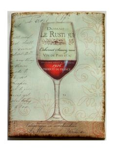 Wine Glass Paris France Plaque Wall Decor Featured is a glass of wine in the center, subtle fleur de lis on the right, and cursive writing on the left. $15.95