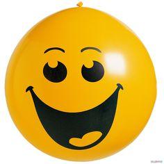 Globo gigante sonrisa: Este globo gigante redondo mide alrededor de 1 metro de diámetro.Es amarillo con una sonrisa.Este globo…