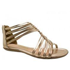6d1d578a2 Sandália Gladiadora Rasteira Dakota Couro Metalizado Bronze. Zíper na parte  traseira para facilitar o calce. Palmilha almofadada nude, debrum da  palmilha e ...