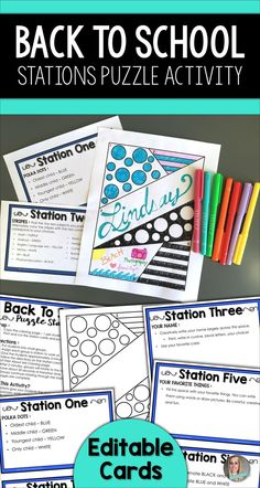 """This back to school resource takes a traditional """"About Me"""" questionnaire or coloring page and breaks it up into six stations. Perfect for a wide range of grade levels and any subject area! The station cards come in an editable format (you must have PowerPoint to edit) so you can modify this activity to fit your needs."""
