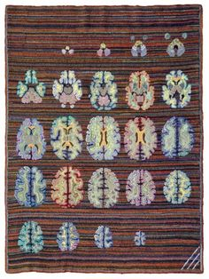 Fabric MRI: Bill's Brain was created by neuroscience artist Marjorie Taylor from an MRI image of her husband's brain. Taylor wove the scans in wool fabric to make a 1.2-meter by 1.8-meter hooked rug. via geekosystem #Brain_Art #Marjorie_Taylor