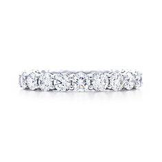 Wedding band- Tiffany shared setting diamond band ring, full circle. Platinum.