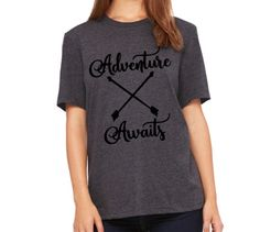 Adventure Awaits Tshirt Camping Tee Airstream Camping Mountains Outdoors T shirt Womens Camping Accessories Colorado Hiking Tents Lifestyle