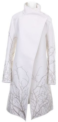 Gareth Pugh White Coat w/ embroidered branches