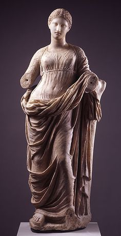 Muse (Terpsichore)    Marble, perhaps Parian, Greek, late 4th to mid 2nd centuries BC.