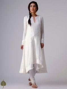 9502dec5748 Buy White Murshidabad Handloom Cotton Kurta by Jaypore Women Kurtas Rangrez  Celebrate Holi in pants and