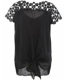 Hoss Intropia | Black Silk Floral Lace Top