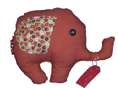Stoffen olifant rood/wit geblokt van Gernaai op DaWanda.com